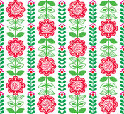 Finnish Inspired Seamless Folk Art Pattern   Scandinavian, Nordic Style. Vector floral repetitive pattern with flowers on white background Royalty Free Stock Images