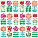 Finnish inspired seamless folk art pattern - Scandinavian, Nordic style. Vector floral repetitive pattern with flowers on white background Royalty Free Stock Photography