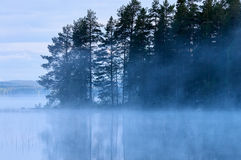 Finnish Lake with fog Royalty Free Stock Photo