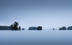 Finnish lake in winter looks like this Stock Photo