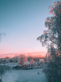 Finnish landscape overlooking houses. Stock Photography