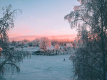 Finnish landscape overlooking houses. Royalty Free Stock Photos