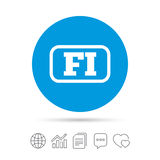 Finnish language sign icon. FI translation. Finnish language sign icon. FI Finland translation symbol with frame. Copy files, chat speech bubble and chart web Royalty Free Stock Images