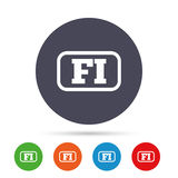 Finnish language sign icon. FI translation. Finnish language sign icon. FI Finland translation symbol with frame. Round colourful buttons with flat icons Stock Images