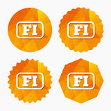 Finnish language sign icon. FI translation. Finnish language sign icon. FI Finland translation symbol with frame. Triangular low poly buttons with flat icon Royalty Free Stock Images