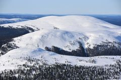 Finnish Lapland. Snowy winter landscape at fell Ylläs in Finnish Lapland, Finland royalty free stock photos