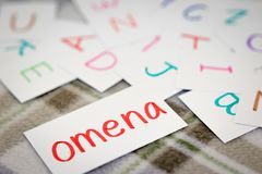 Finnish; Learning the New Word with the Alphabet Cards; Writing Royalty Free Stock Photo