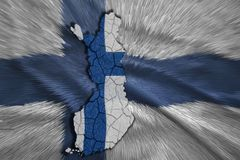 Finnish Map. Map of Finland in National flag colors Royalty Free Stock Image