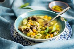 Finnish meat and potatoes soup Royalty Free Stock Photo