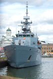 Finnish minelayer `Hаmeenmaa` in the city harbor close-up. Helsinki. HELSINKI, FINLAND - AUGUST 28, 2016: Finnish minelayer `Hаmeenmaa` in the city harbor Stock Images