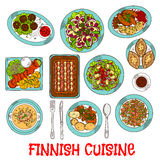Finnish national cuisine dishes set. National finnish cuisine dishes with smoked salmon and vegetables, rice and fish rye pies, sausages and meatballs with berry Royalty Free Stock Photo