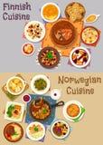 Finnish and norwegian cuisine dinner icon set Stock Photo