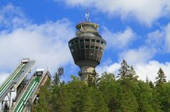 Finland/Kuopio: Transmission and Observation Tower. This observation tower, called Puijo Tower, is 75 metres (246 feet) high and is located in on Puijo Hill royalty free stock images