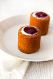 Finnish pastry. Finnish Runeberg day pastry on a white plate Stock Photography