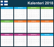 Finnish Planner blank for 2018. Scheduler, agenda or diary template. Week starts on Monday.  Stock Photos
