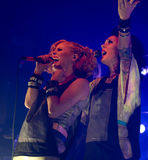 Finnish pop rock band PMMP. Fronted by singers Paula Vesala and Mira Luoti live on stage at Tavastia,Club-#1 rock venue in Finland on August 26,2010 in Helsinki Stock Image