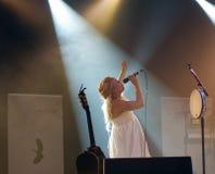 Finnish pop star Anna Puu on stage Stock Photo
