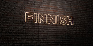 FINNISH -Realistic Neon Sign on Brick Wall background - 3D rendered royalty free stock image Royalty Free Stock Photo