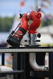 Finnish rescue boat Jenny Wihuri. Fire hydrant close-up. Time of the regatta THE TALL SHIPS RASES Kotka 2017. Kotka, Finland Royalty Free Stock Photos