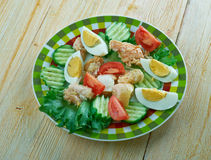 Finnish salad with smoked salmon Royalty Free Stock Photo