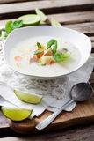 Finnish salmon soup. Creamy salmon soup in finnish style Royalty Free Stock Photos