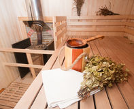 Finnish sauna. Interior and accessories Stock Image