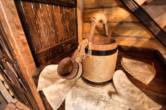 Finnish sauna accessories. In a sweating room Royalty Free Stock Photos