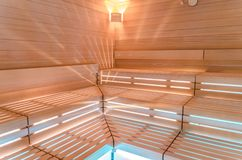 Finnish sauna. Benches, lighting and wall covering for sauna. In Germany Royalty Free Stock Images