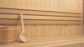 Finnish sauna and buddha figure stock video