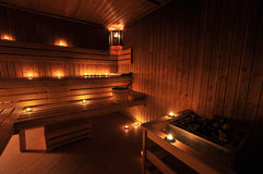 Finnish sauna interior Stock Photos