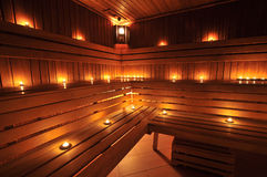 Finnish sauna interior Royalty Free Stock Images