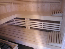 Finnish sauna interior. Royalty Free Stock Photography