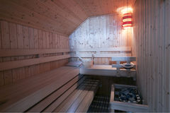 Finnish sauna Interior Royalty Free Stock Photo