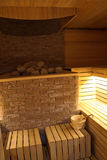 Finnish sauna at the luxury spa resort interior design Stock Images