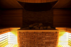 Finnish sauna at the luxury spa resort interior design Royalty Free Stock Image