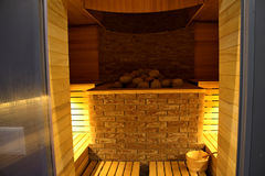 Finnish sauna at the luxury spa resort interior design Royalty Free Stock Photo
