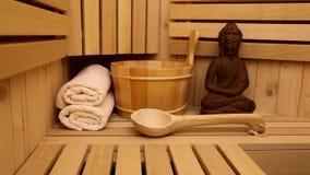 Finnish sauna and medditation figure stock footage