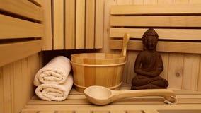 Finnish sauna and medditation figure stock video