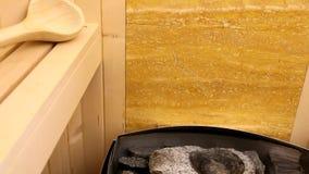 Finnish sauna oven stock footage