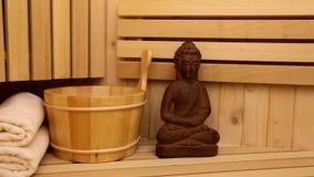 Finnish sauna and sauna accessories stock video footage