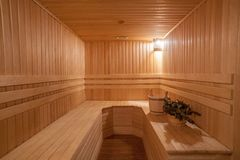 Finnish Sauna with Wooden Royalty Free Stock Photography
