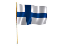 Finnish silk flag. Silk flag of Finland Stock Photos