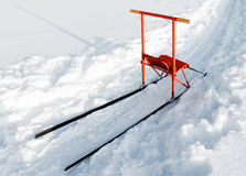 Finnish sleigh. With red wooden chair and metal construction Royalty Free Stock Photography