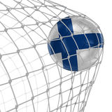 Finnish soccerball in net Royalty Free Stock Photography