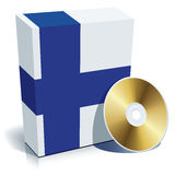 Finnish software box and CD. Finnish software box with national flag colors and CD Stock Image