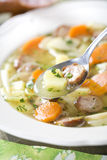 Finnish soup. With sausage and carrot Stock Photos