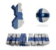 Finnish Symbols. Finland flag and map in different styles in different textures Stock Image