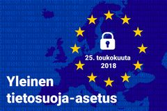 Finnish text, english translation - GDPR - General Data Protection Regulation. Vector illustration Royalty Free Stock Photo