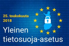 Finnish text, english translation - GDPR - General Data Protection Regulation. Vector illustration Stock Photos