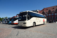 Finnish tourist buses in Vyborg, Russia Royalty Free Stock Images
